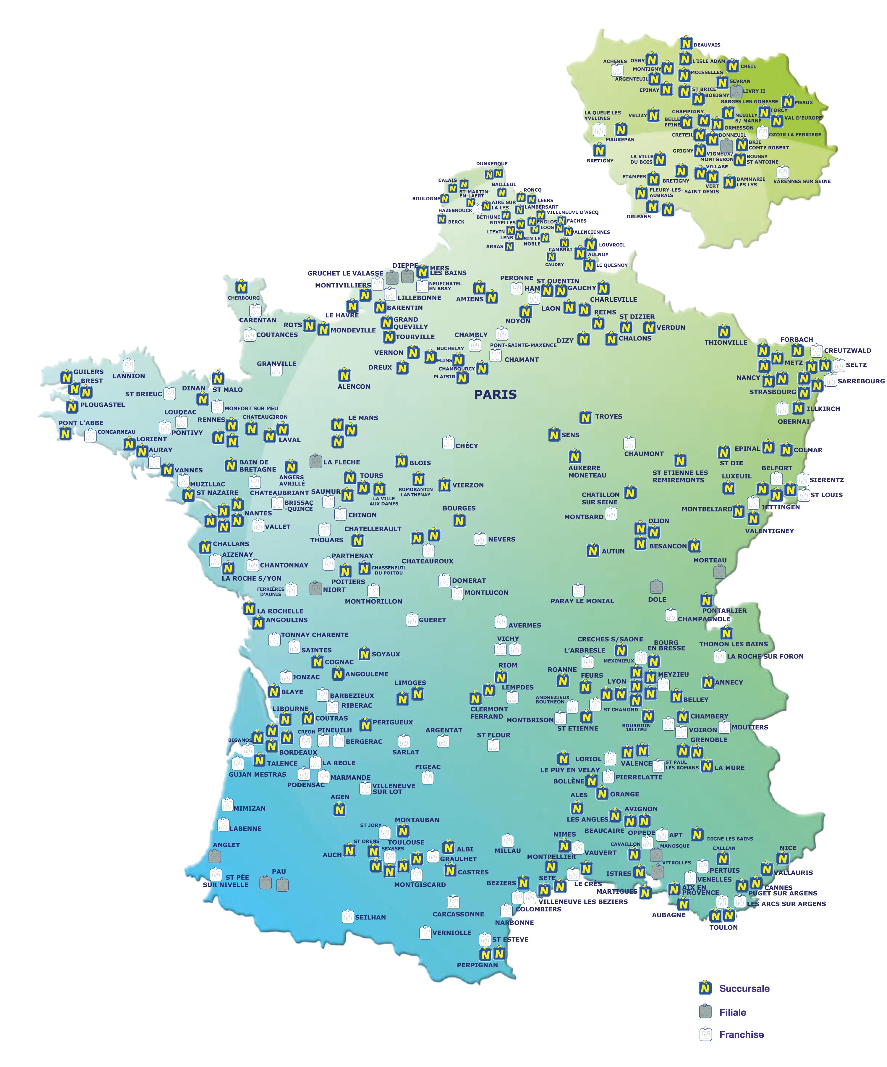 Carte de France des enseignes Norauto